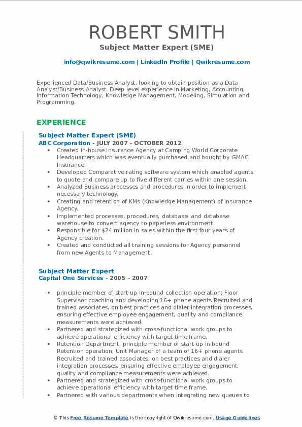 Subject Matter Expert (SME) Resume Template