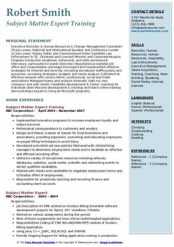 Subject Matter Expert Training Resume Model