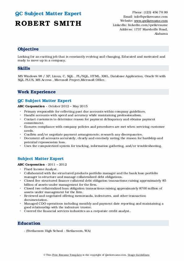 QC Subject Matter Expert Resume Sample