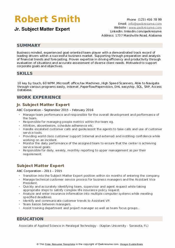 Jr. Subject Matter Expert Resume Sample