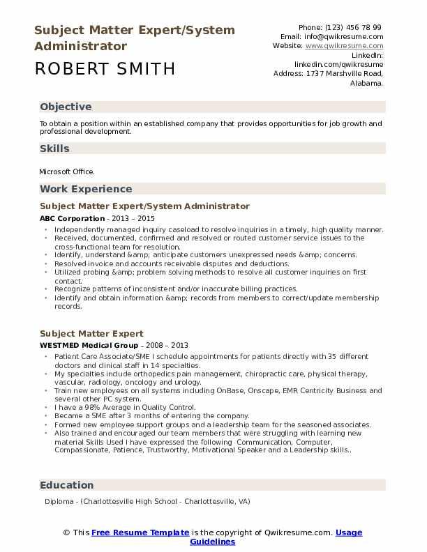 Subject Matter Expert/System Administrator Resume Sample