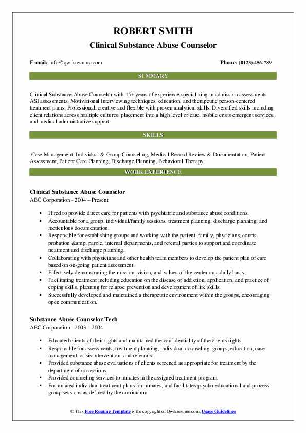 substance abuse counselor resume samples
