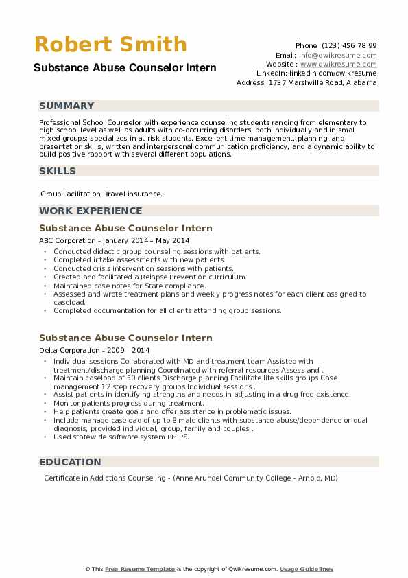 Substance Abuse Counselor Intern Resume example