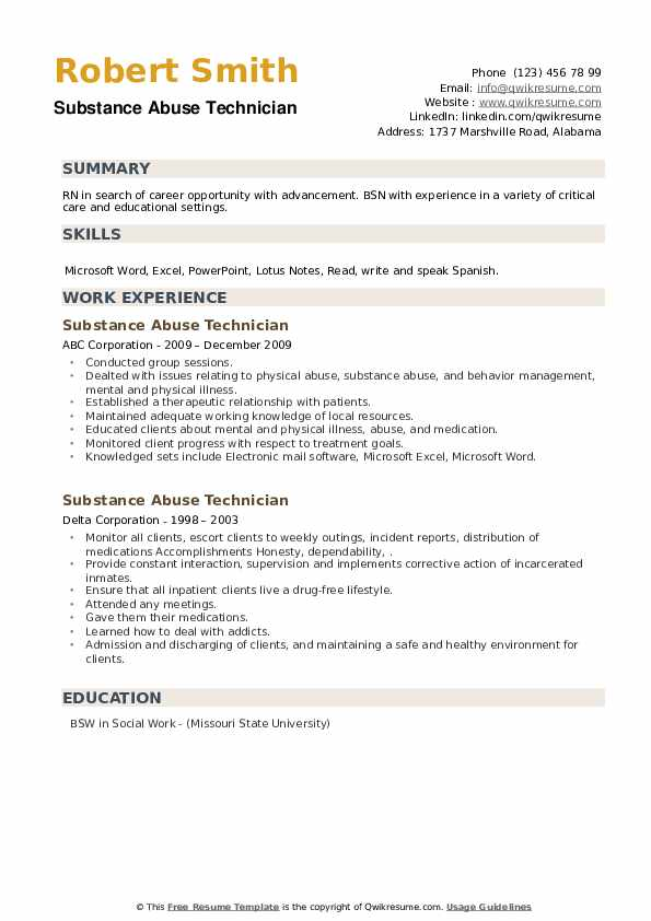 Substance Abuse Technician Resume example