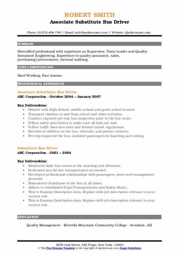 substitute bus driver resume samples
