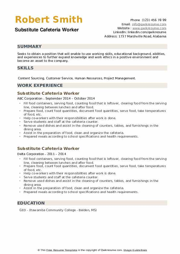 Substitute Cafeteria Worker Resume example