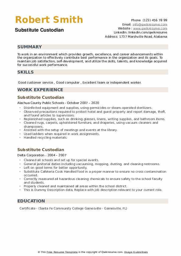 Substitute Custodian Resume example