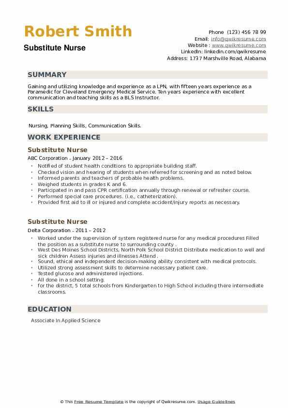 Substitute Nurse Resume example