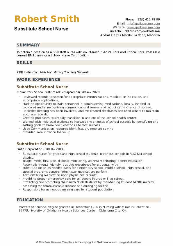 Substitute School Nurse Resume example