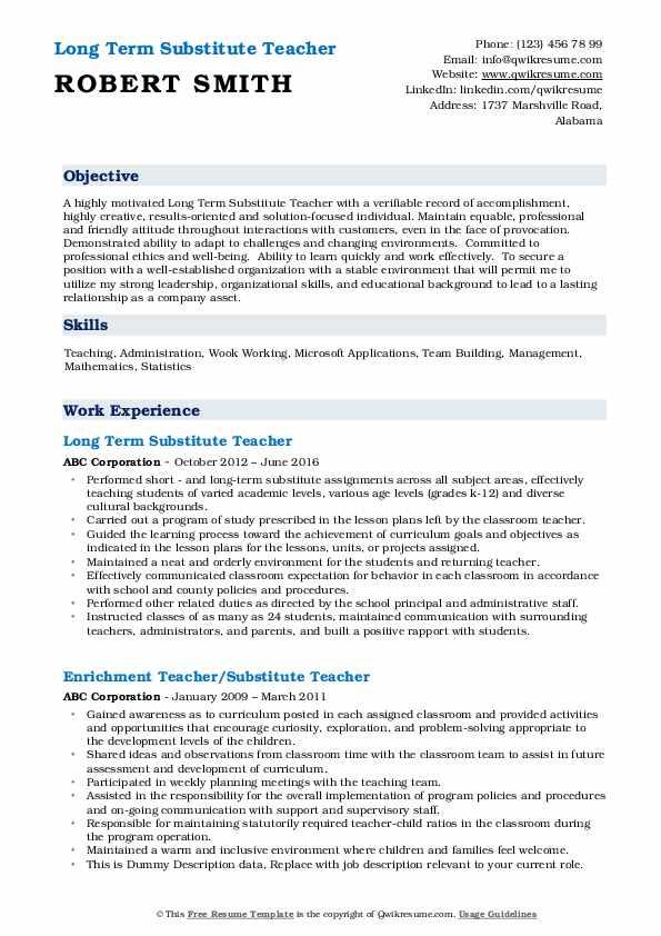 Long Term Substitute Teacher Resume Format