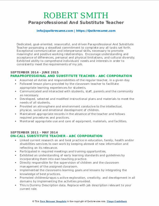 Paraprofessional And Substitute Teacher Resume Format
