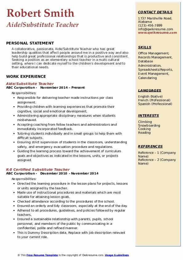 Aide/Substitute Teacher Resume Format