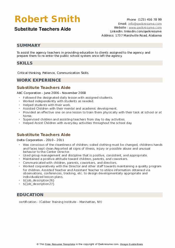 Substitute Teachers Aide Resume example