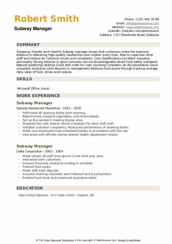 Subway Manager Resume example