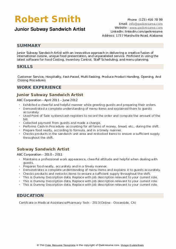 Subway Sandwich Artist Resume Samples Qwikresume