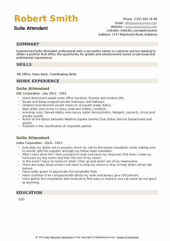 Suite Attendant Resume example