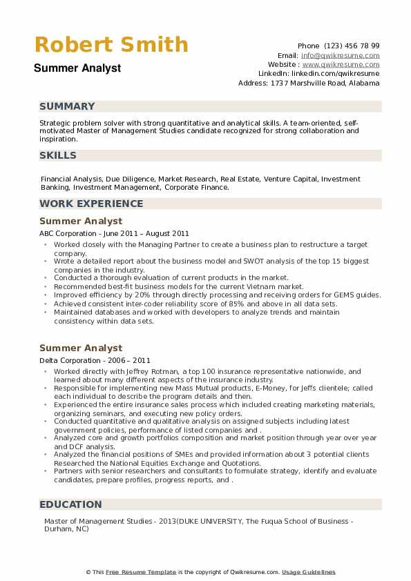 Summer Analyst Resume example