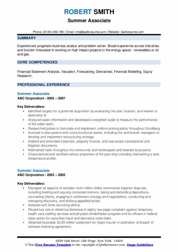 Summer Associate Resume example