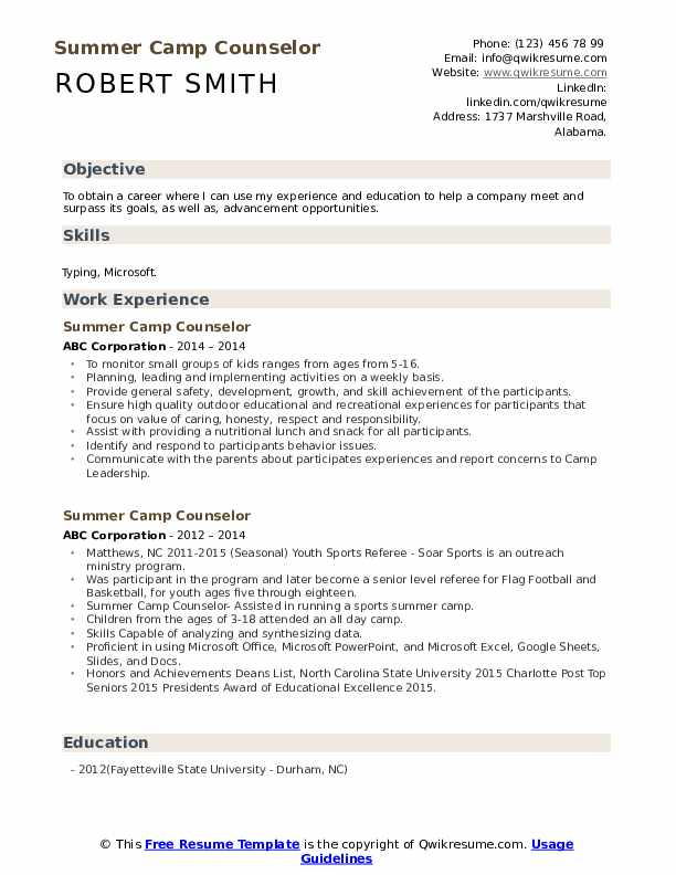 Summer Camp Counselor Cover Letter from assets.qwikresume.com
