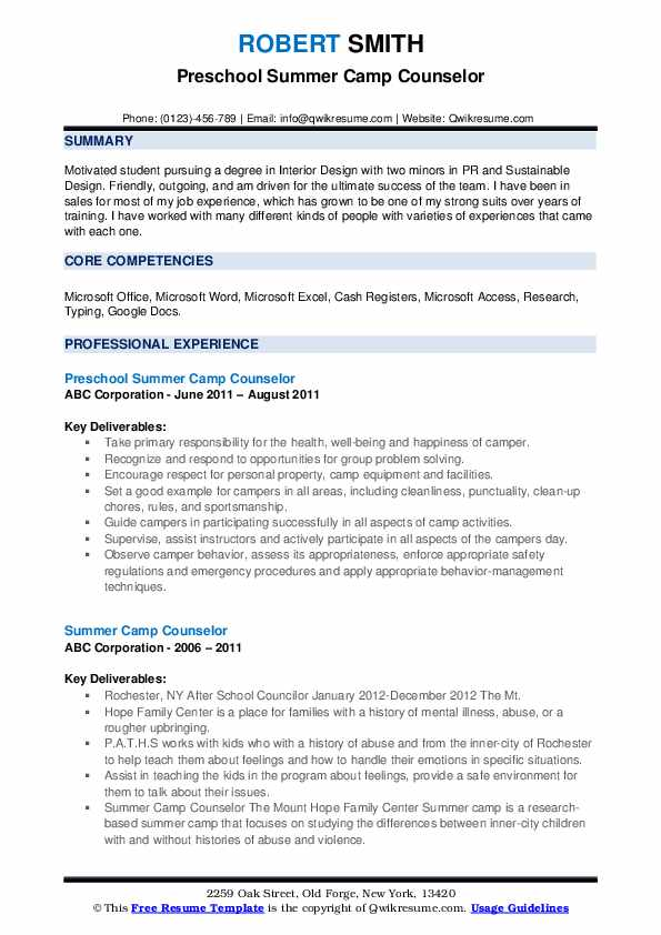 Preschool Summer Camp Counselor Resume Example
