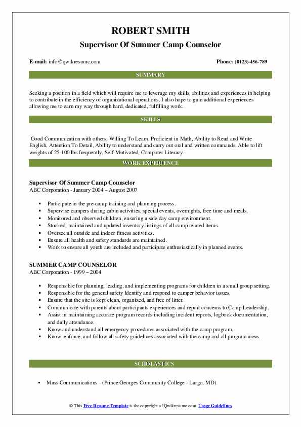 summer camp counselor resume samples