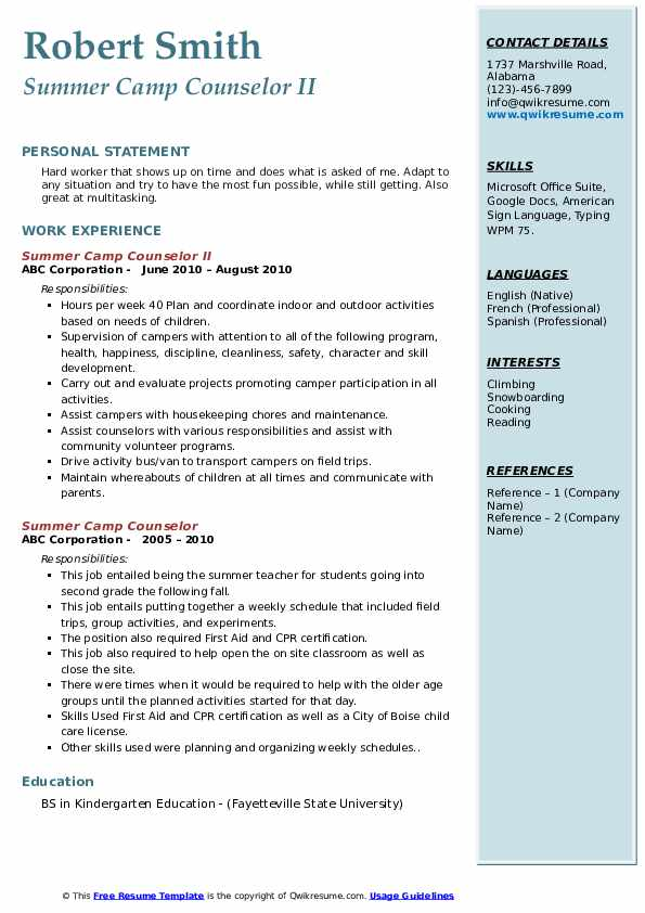 Summer Camp Counselor II Resume Template