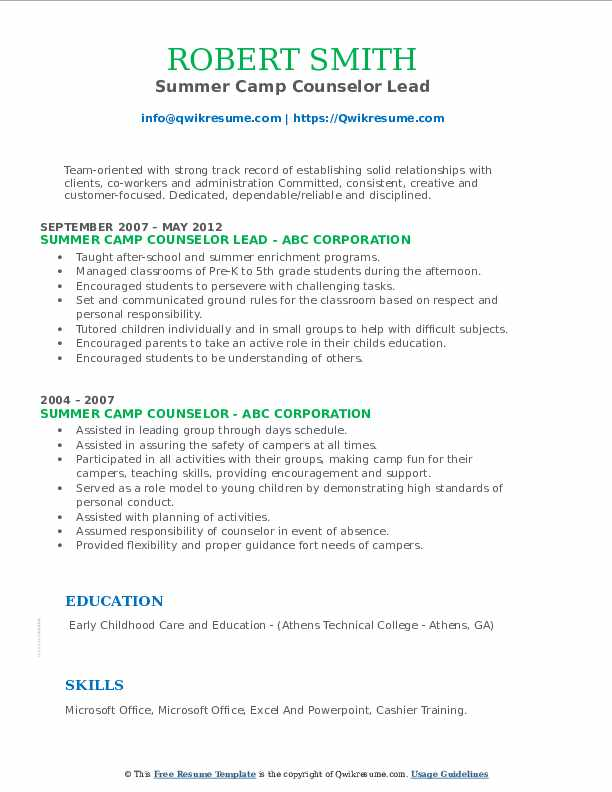 Summer Camp Counselor Lead Resume Template