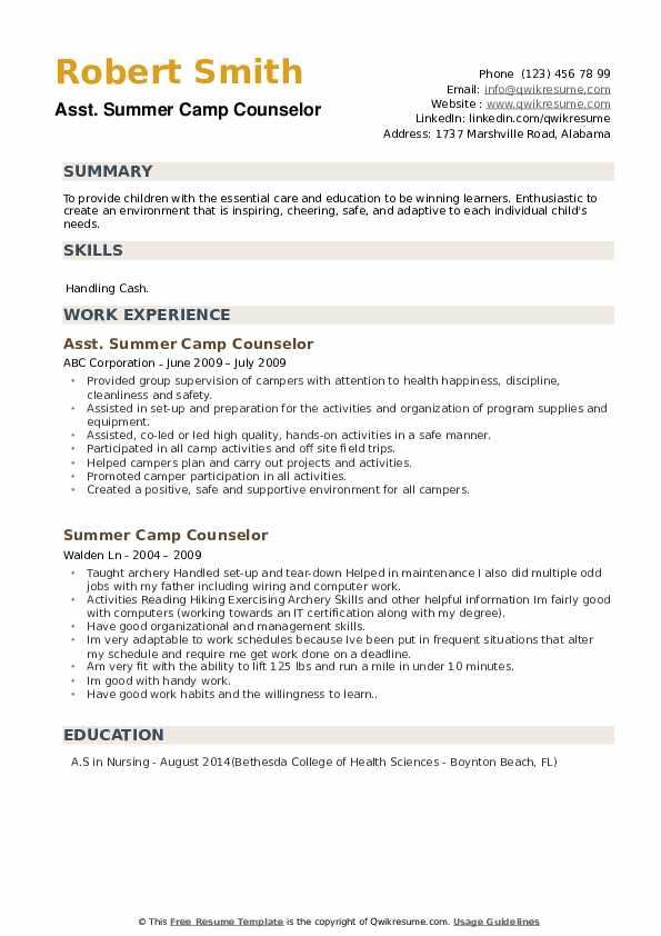 Asst. Summer Camp Counselor Resume Model