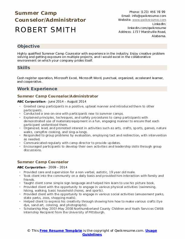 Summer Camp Counselor/Administrator Resume Format