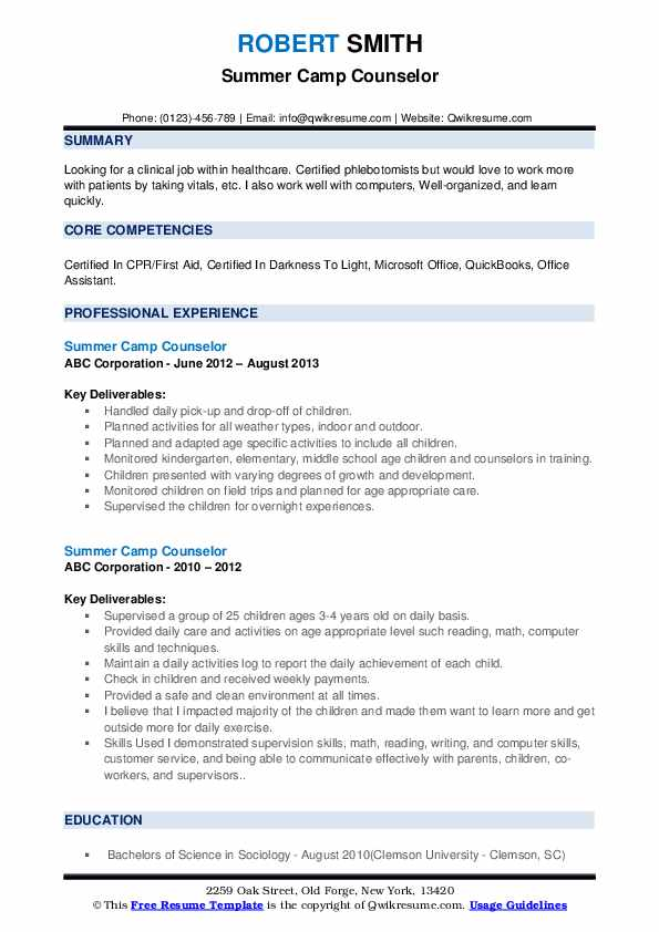Summer Camp Counselor Resume example