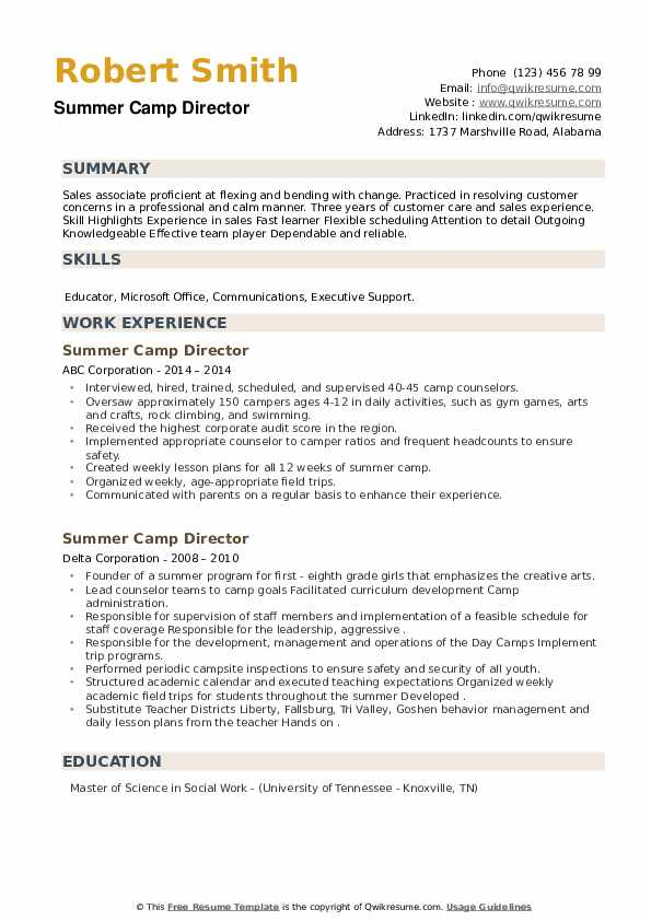 Summer Camp Director Resume example