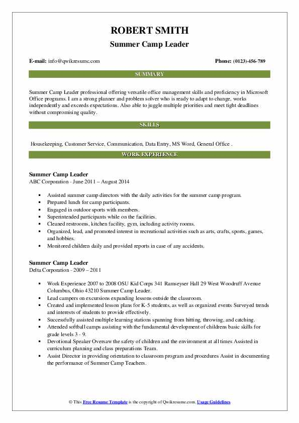 summer camp leader resume samples  qwikresume
