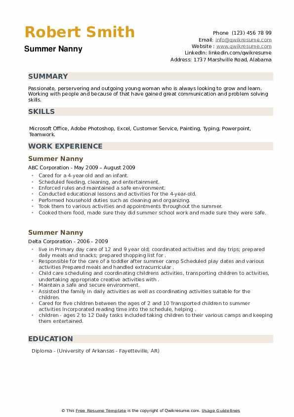 Summer Nanny Resume example