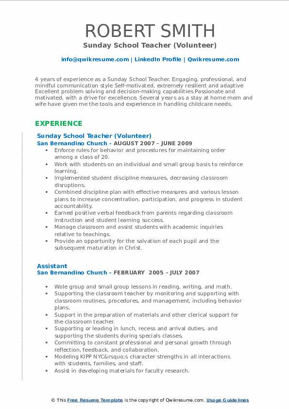 Sunday School Teacher (Volunteer) Resume Format