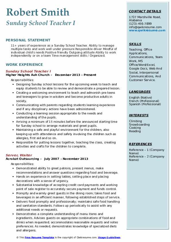 Sunday School Teacher I Resume Format