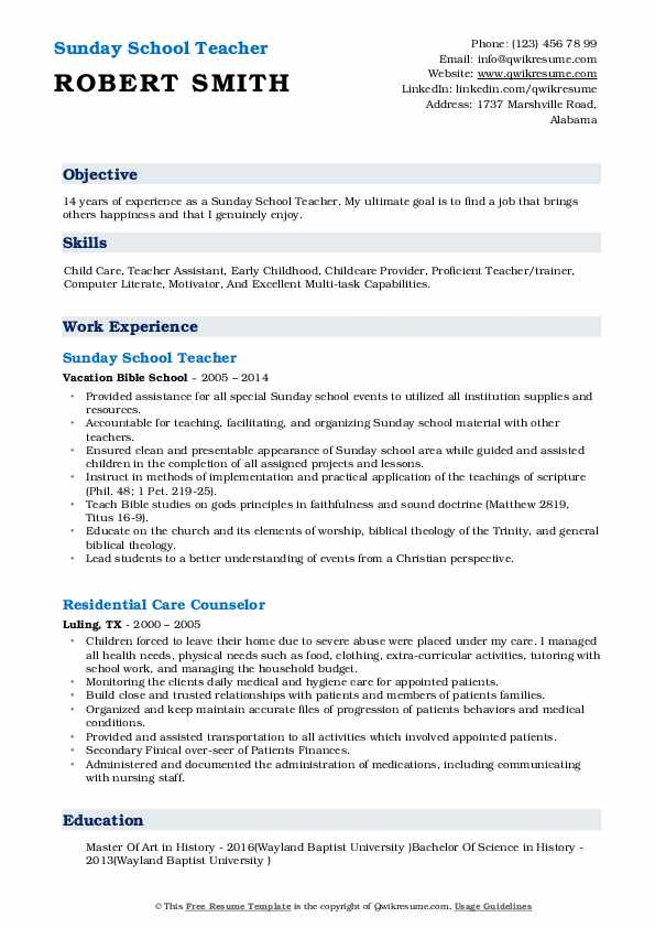 Sunday School Teacher Resume Sample