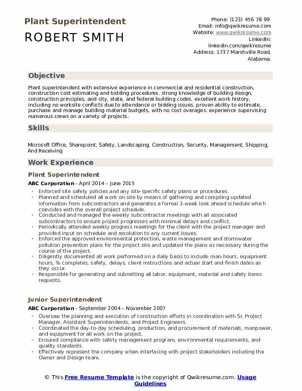 Superintendent Resume Samples Qwikresume