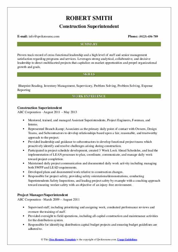 Construction Superintendent Resume Sample