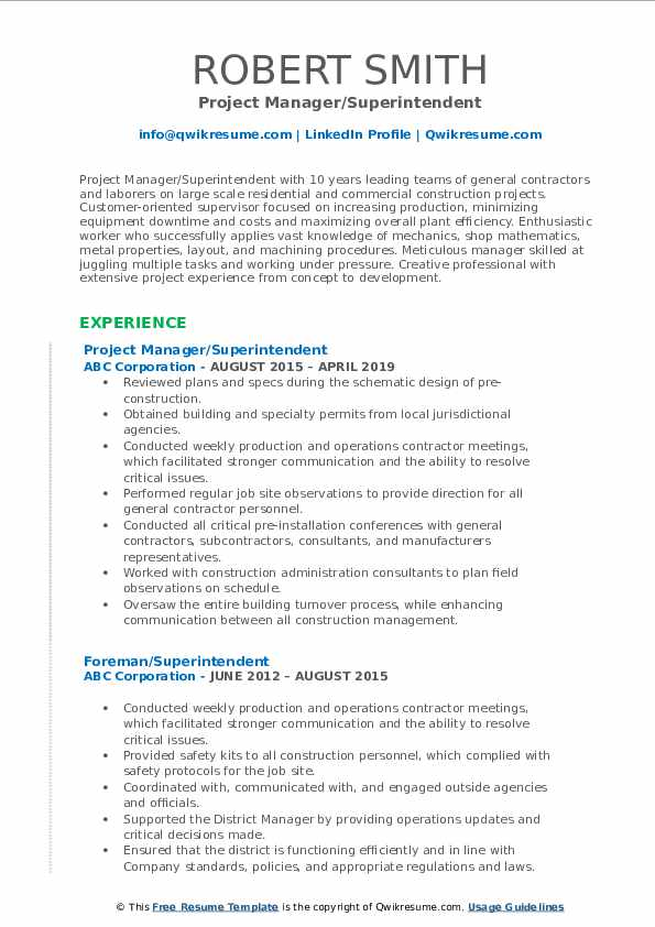 Superintendent Resume Samples | QwikResume