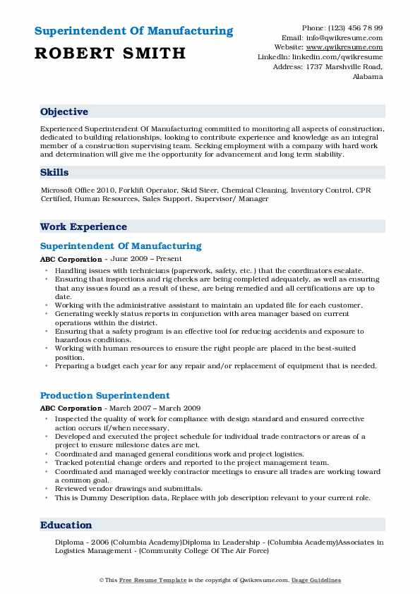 Superintendent Of Manufacturing Resume Template