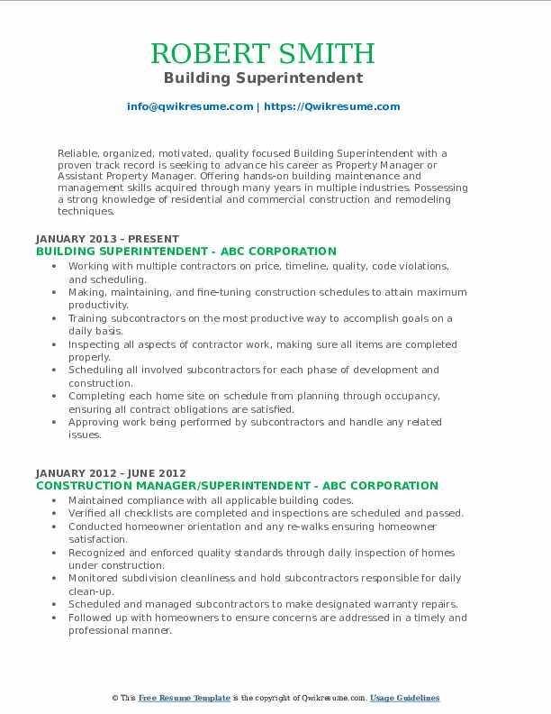 Building Superintendent Resume Sample