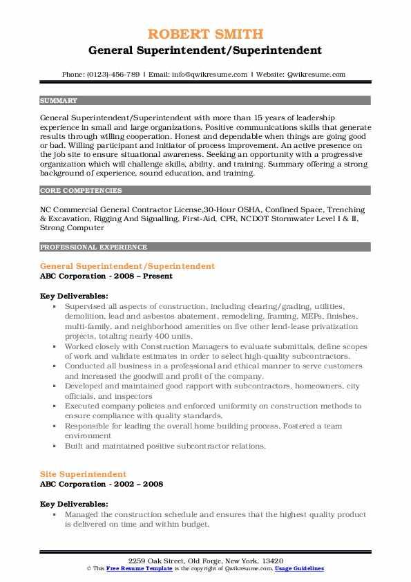 General Superintendent/Superintendent Resume Format