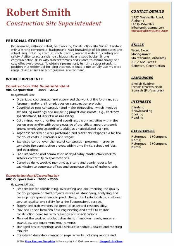 Construction Site Superintendent Resume Format