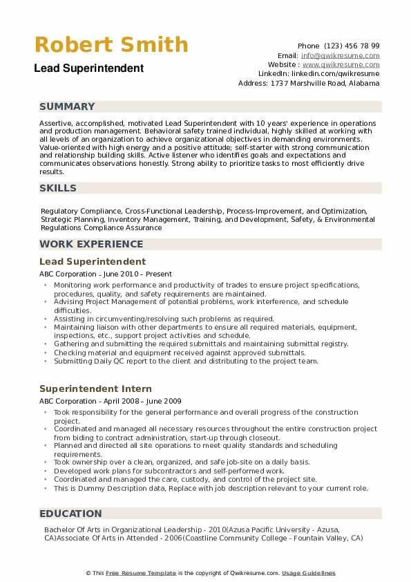 Superintendent Resume example