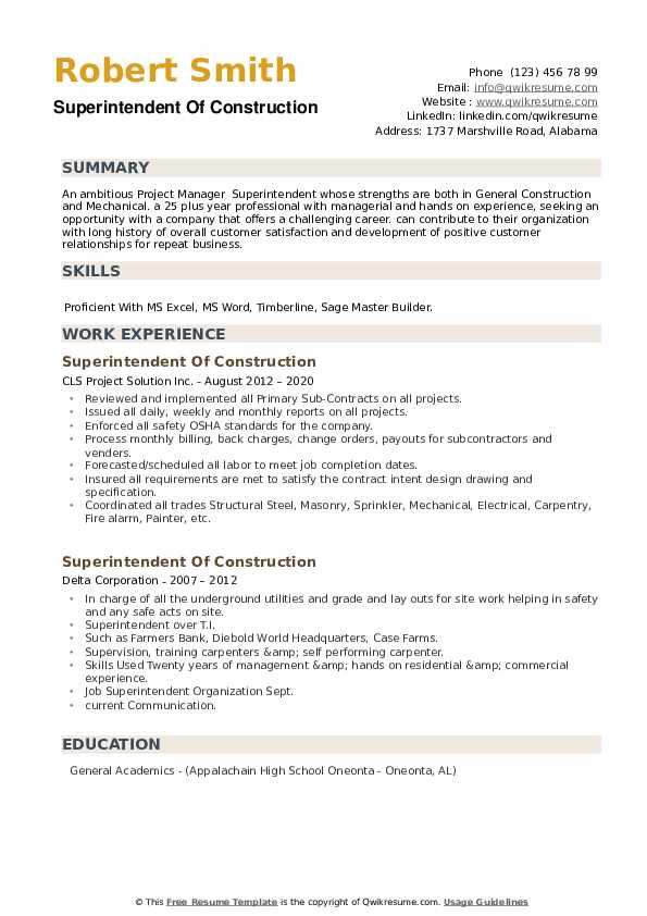 Superintendent Of Construction Resume example