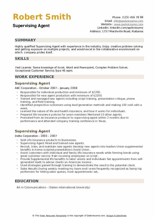 Supervising Agent Resume example