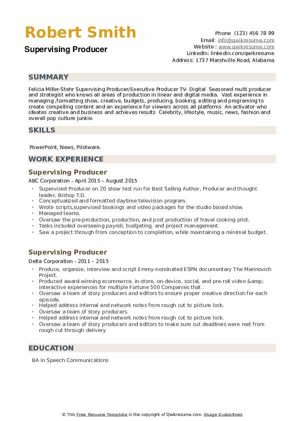 Supervising Producer Resume example