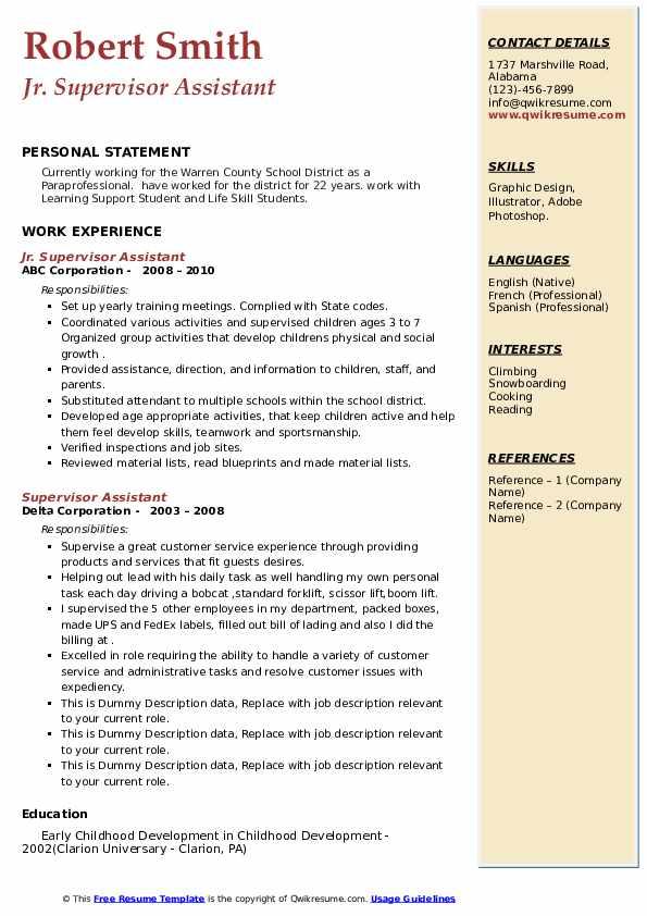 supervisor assistant resume samples  qwikresume