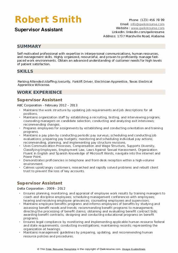 Supervisor Assistant Resume example