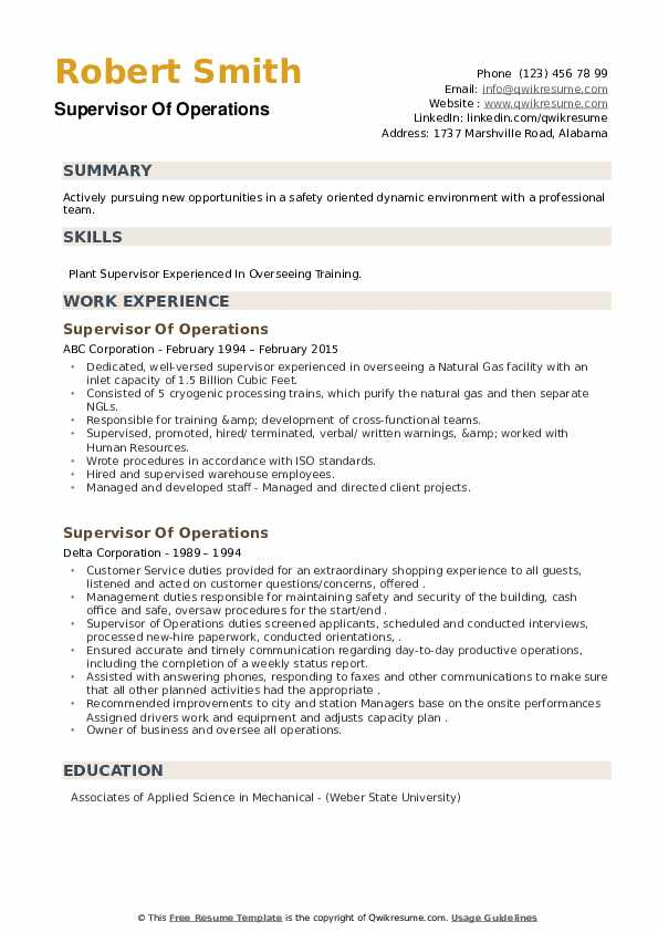 Supervisor Of Operations Resume example
